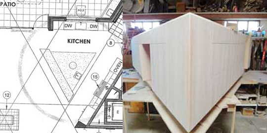 blueprint for unusual kitchen